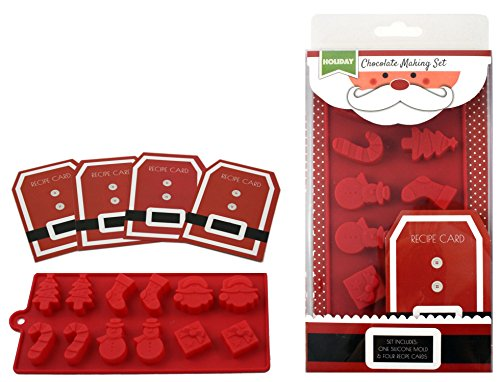 Handstand Kitchen Silicone Holiday Santa Shaped Chocolate Mold with Recipe Cards