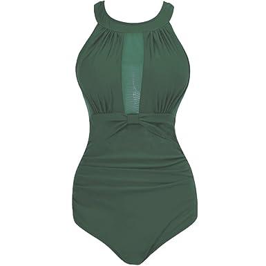 Yiiquan Femme Maillot de Bain Avec Jupe, 1 Pièce Dentelle Conception de Maille Beachwear Push Up Swimwear (Noir, Asia XL)