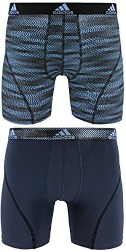 adidas Men's Sport Performance Climalite Boxer Briefs Underwear (2-Pack), Blue Ratio Urban Sky Ratio, Small/Waist Size 28-30