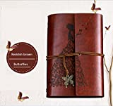 Tyjtyrjty PU Loose Spiral A6 Notebook Writing Journal Notebook,Retro Vintage Notebook Diary Sketchbook with Unlined Travel Journals to Write in for Girls Notepad Guest Book (Redish-brown)