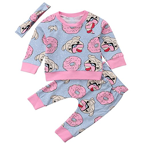 Annvivi Baby Girl 3pcs Pug Donut Clothes Long Sleeve T-shirt Top Pants with Headband (Pink, 0-6 (Baby Pug)