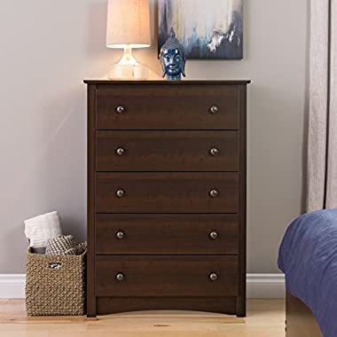 Prepac Fremont 5 Drawer Chest, Espresso Brown