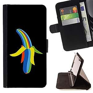 BullDog Case - FOR/Samsung Galaxy S4 Mini i9190 / - / Cool Rainbow Color Banana /- Monedero de cuero de la PU Llevar cubierta de la caja con el ID Credit Card Slots Flip funda de cuer