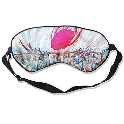 Madge Kelley Eye Mask Adjustable-Strap Eyeshade Sleeping Mask Skin-Friendly Cartoon City Brain Dark Night Sleep Travel ()