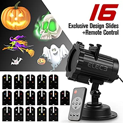 Elec3 Projector Light, 16 Exclusive Design Slides IP65 Waterproof Landscape Motion Projector Lights with Remote Control, 32ft Power Cable for Decoration Lighting on Christmas Halloween Holiday Party