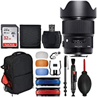 Sigma 20mm F1.4 ART DG HSM Lens for Canon + Trolley Backpack + 32GB Memory Card + 72 Monopod + Top Value Accessory Bundle