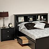 prepac sonoma black full queen wood bookcase headboard 2 piece bedroom set