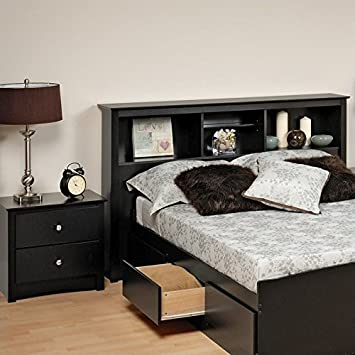 Amazon.com: Prepac Sonoma Black Full / Queen Wood Bookcase Headboard ...