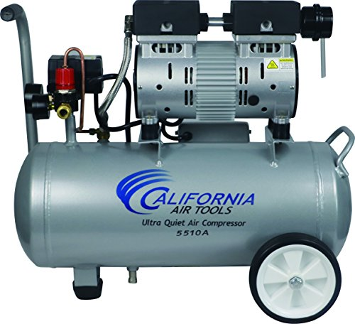 California Air Tools CAT-5510A Ultra Quiet & Oil-Free 1.0 hp 5.5 gallon Aluminum Portable Electric Portable Air Compressor, ()