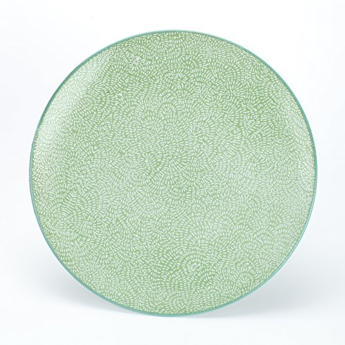 Porcelain Large Dinner Plates Ceramics Hand Painted Multicolor catering Serving Dishes For Buffet Restaurant Kitchen Party,10.5-Inch,Set of 4,Round,Green (Hand Painted Porcelain Plate)