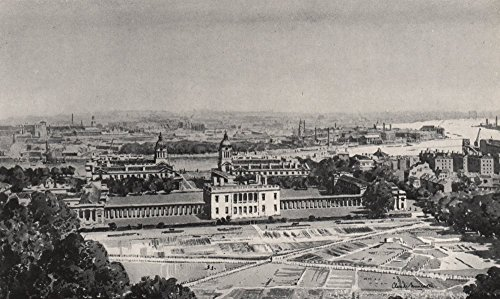 GREENWICH. From the Royal Observatory, by Claude Muncaster - 1947 - old print - antique print - vintage print - London art prints - Old Royal Observatory