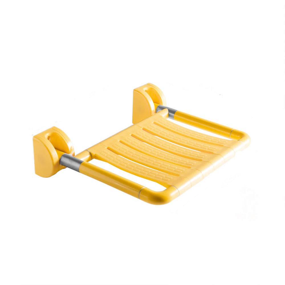 XSJJ 手すり、バスルーム折りたたみシートシャワースツールの壁のベンチシャワーの壁のベンチ高齢者のバスルームの座っている椅子の壁壁掛けスツール手すり2色オプション 手すり (色 : Widened - yellow)  Widened - yellow B07MN2XRQG