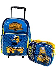 Despicable Me 2 Minions Dont Move Large 16 Rolling Wheeled Book Bag School Backpack & Lunch Bag Set