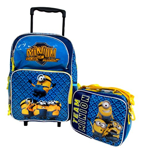 """Despicable Me 2 Minions Don't Move Large 16"""" Rolling Wheeled Book Bag School Backpack & Lunch Bag Set"""