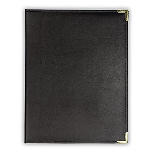 Samsill Classic Collection Deluxe Executive Padfolio with Padded Cover - Interview/Business Portfolio with Brass Corners, 8.5 inch x 11 inch Writing Pad (Black) by Samsill
