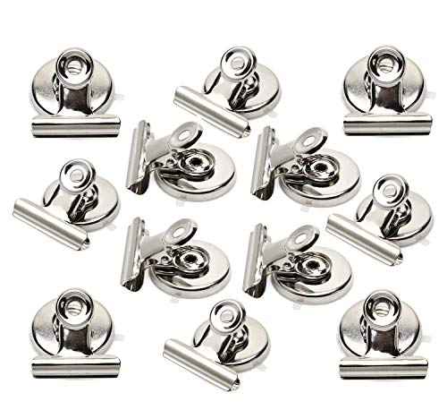 Holder Team Clip Paper - Strong Magnetic Clips - Heavy Duty Refrigerator Magnet Clips - 31mm Wide Scratch Safe - Clip Magnets Best for House Office School Use, Hanging Home Decoration, Photo Displays(12Pack)