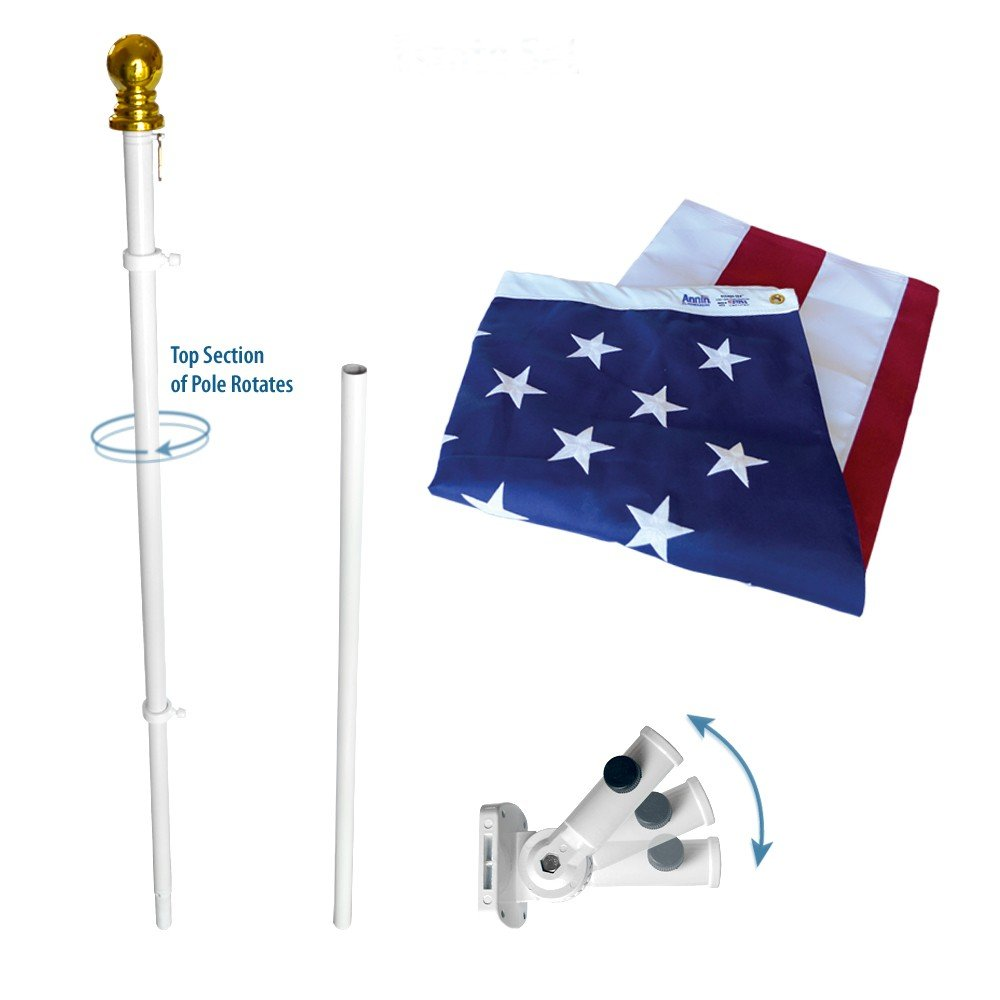 Annin Flagmakers Model 238 American Flag and Flagpole Set Estate kit - 6 ft. 2 Section White Spinning Pole that Rotates 360 Degrees with US Flag 3x5 ft. SolarGuard Nylon