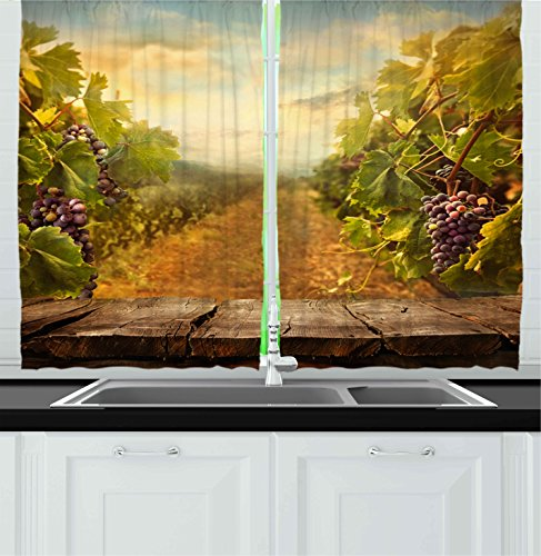 Ambesonne Kitchen Decor Collection, Vineyard Grapes Natural Rustic Vinatage Scenery Orchads Wine Home Kitchenware Cafe, Window Treatments for Kitchen Curtains 2 Panels, 55X39 Inches, Green Brown Blue