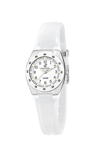 Calypso K6043 - Reloj de Cuarzo, Correa de Silicona Color Blanco: Amazon.es: Relojes