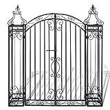 Festnight Ornamental Iron Garden Driveway Entry Gate, 4′ x 8″ x 4′ 5″, Black