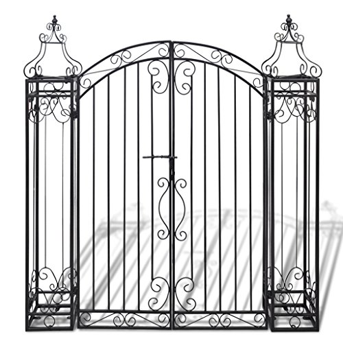 Festnight Ornamental Iron Garden Driveway Entry Gate, 4' x 8