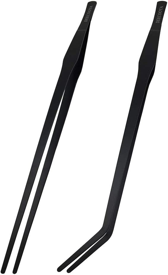 DEECOOYA 15 inch Long Handle Aquarium Tweezers Serving Tongs,2 Pack Stainless Steel Straight and Curved Tweezers Set for Fish Tank Plants Reptile Feeding Tongs,Black