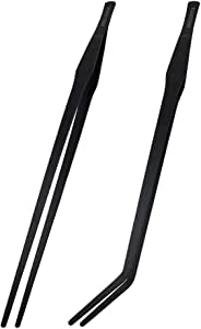 DEECOOYA 15 inch Long Handle Aquarium Tweezers,2 Pack Stainless Steel Straight and Curved Tweezers Set with Carbonation Coating for Fish Tank Aquatic Plants Reptile Feeding Tongs,Black