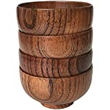 Cospring Set of 4 Solid Wood Bowl, 4.5 inch Dia by 2-5/8 inch, for Rice, Soup, Dip, Decoration (Middle)