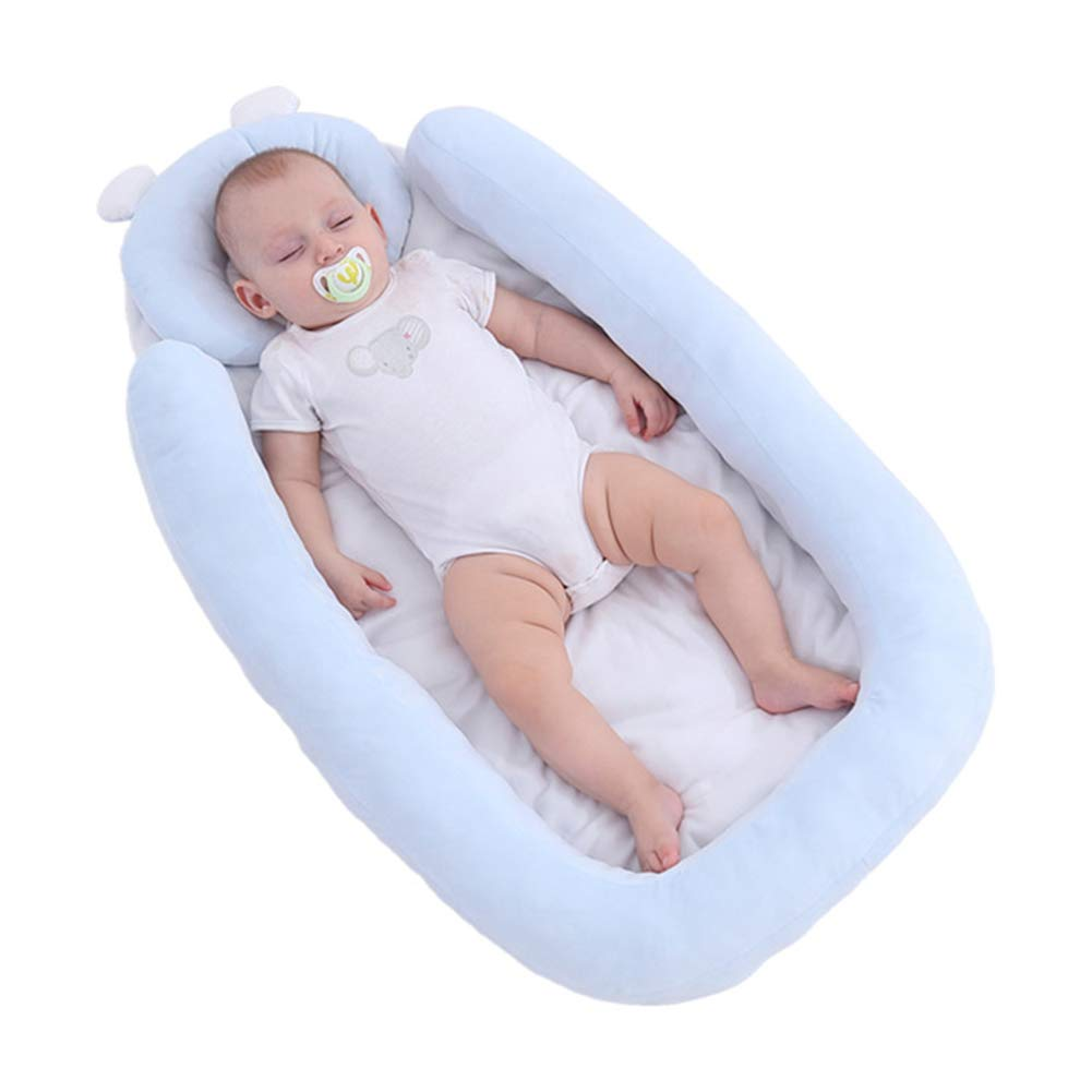 Baby Bassinet for Bed,Newborn Infant Velvet Bassinet Baby Nest Snuggle Bed Crib Mattress Baby Sleeping Nest Pillow Bed Baby Lounger for Kids Nursery Bedroom Living Room Travel 34x17inch