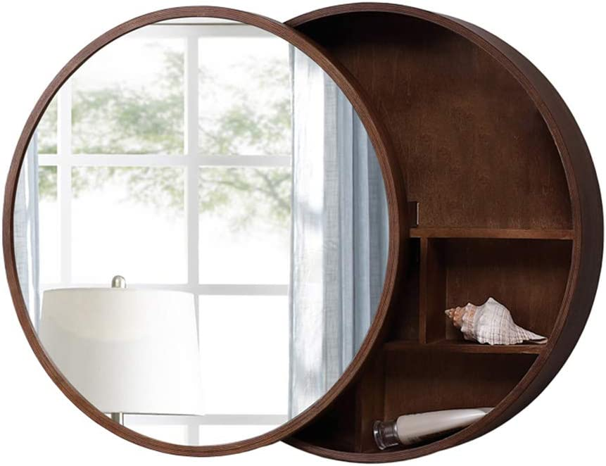 Wall-Mounted Round Mirror Bathroom Storage Mirror Cabinet Bathroom Vanity Mirror with Shelf Bathroom Mirror