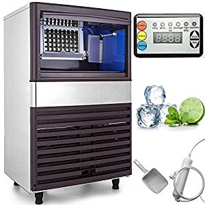VEVOR 110V Commercial Ice Maker 132LBS/24H with 39LBS Bin, Clear Cube, LED Panel, Stainless...