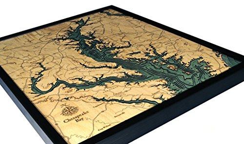Chesapeake Bay 3-D Nautical Wood Chart, 24.5'' x 31'' by Woodchart (Image #1)
