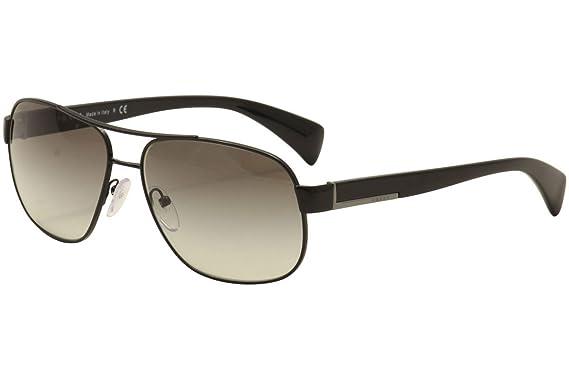 Amazon.com: Prada PR52PS Sunglasses 7AX0A7-61 - Black Frame, Grey ...
