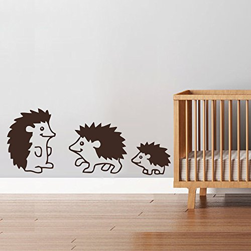 "BATTOO Hedgehog Family Woodland Animals Wall Decal Art Vinyl Sticker for Children Room Girls Room Boys Room Nursery Idea Kids Decor (9"" h x22 w,Dark brown)"