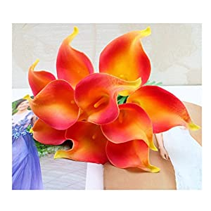 tutu.vivi 10pcs Calla Lily Bridal Wedding Bouquet Head Latex Real Touch Artificial Flower Home Party Wedding Decor Orange 70