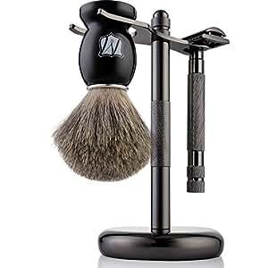 Miusco Men's Shaving Set, Safety Razor, Badger Hair Shaving Brush, Shaving Stand, Dark Chrome
