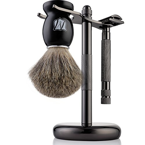 Miusco Men's Shaving Set, Safety Razor, Badger Hair Shaving Brush, Shaving Stand, Dark Chrome