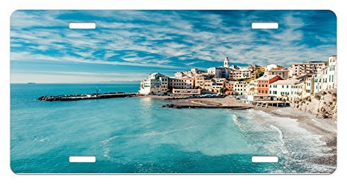 zaeshe3536658 Italy License Plate, Panorama of Old Italian Fishing Village Beach in Old Province Coastal Charm Image, High Gloss Aluminum Novelty Plate, 6 X 12 Inches, Turquoise by zaeshe3536658