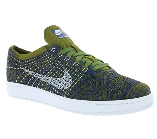 Classic Mesh Tennis Nike (Nike TENNIS CLASSIC ULTRA FLYKNIT womens fashion-sneakers 833860-301_8.5 - OLIVE FLAK/WHITE-DEEP ROYAL BLUE-BLACK)