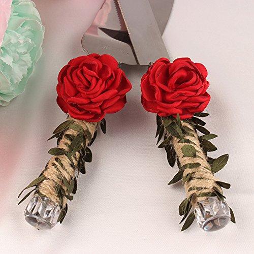 elegantstunning Wedding Cake Knife With Fine Twine Handle,Wedding Bridal Gift,Red Rose by elegantstunning