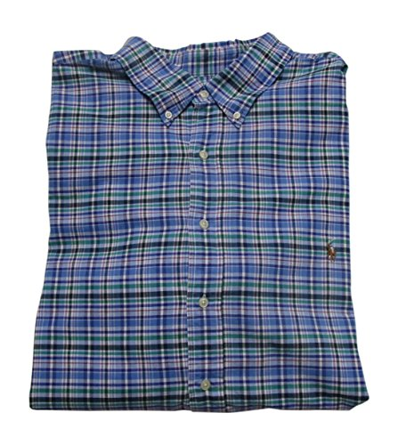 RALPH LAUREN Mens' Big and Tall Long Sleeve Plaid Oxford Sport Shirt (4XLT, Blue/Lavender)