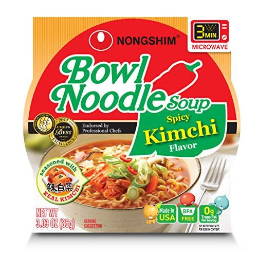 NongShim Bowl Noodle Soup, Kimchi, 3.03 Ounce (Pack of 4) (Best Vegetarian Noodle Soup)