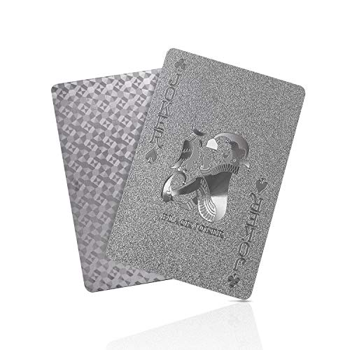 SolarMatrix Waterproof Plastic Silver Playing Cards ,Poker Cards, Deck of Cards(Silver)