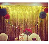 Blukey Gold-Foil-Fringe-Curtain-18FTX8FT Metallic Tinsel Photo Booth Wedding Props Glitter Party Background Decorations (18FTx8FT, Gold)
