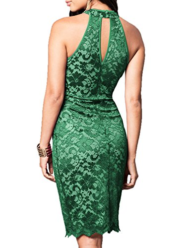 WOOSEA Women's Elegant Sleeveless Floral Lace Vintage Midi Cocktail Party Dress (Small, Green #2)