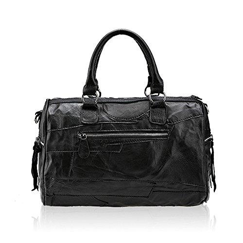 yanxi mujeres lujo Patchwork piel de cordero auténtica piel boston bolsa de bolso bandolera bolsa de viaje negro negro