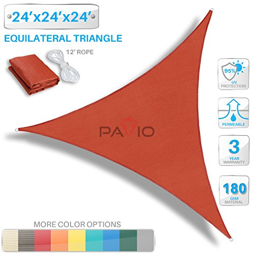 Patio Paradise 24' x 24' x 24' Red Sun Shade Sail Triangle Canopy, 180 GSM Permeable Canopy Pergolas Top Cover, Permeable UV Block Fabric Durable Outdoor, Customized Available