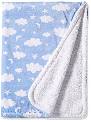 SpaSilk Baby Boys Velboa Fleece Blanket with Thick Stitch Trim, Blue Clouds, 30