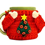 TINTON LIFE Super Cute Reusable Handmade Coffee Cup Sleeve Cup Sweater(Christmas Tree)