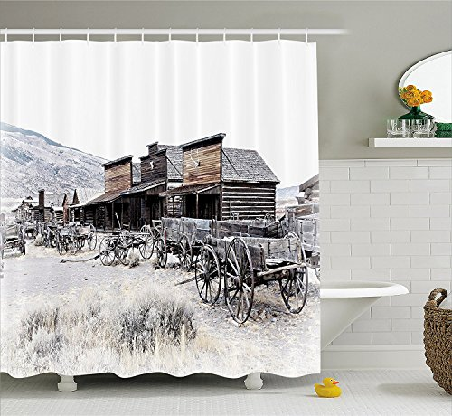 Western Decor Shower Curtain OldWooden Wagons from 20s in Ghost Town Antique Wyoming Wheels Art Print Fabric Bathroom Decor Set with Hooks Brown